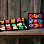 Crochet Granny Square Blanket Afghan Quilt Or Purse Hand Made Vintage 60s