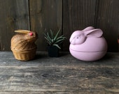 Vintage Easter Rabbit Decor Porcelain And Rattan Basket