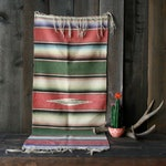 Vintage 50s Mexican Serape Saltillo Hand Weaving Wall Hanging Table Runner Furniture Cover