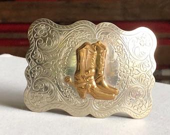 Vintage Nickel Silver Belt Buckle Justin 1960s
