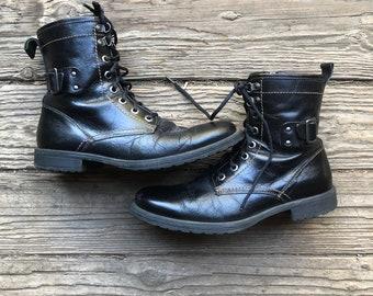 Vintage Mens Ankle Boots Black Leather