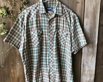 Vintage Short Sleeve Shirt Wrangler Plaid