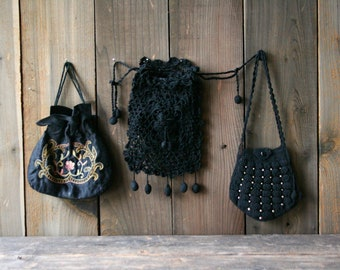 Vintage Black Woven Bags Crochet Drawstring Embroidered Evening Purse  1910 to 1950s