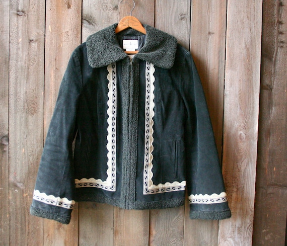 Suede Leather Coat Jacket  White Stag Black With W