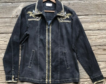 Vintage 80s Black Denim Jacket With Gold Trim Grunge Style