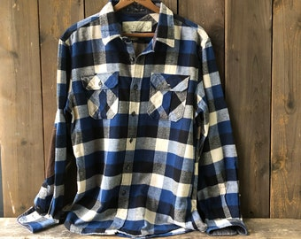 Vintage Flannel Shirt Soft Blue And White