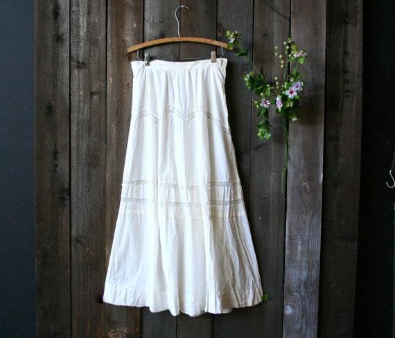 Antique Cotton Skirt 1930 Maxi Vintage