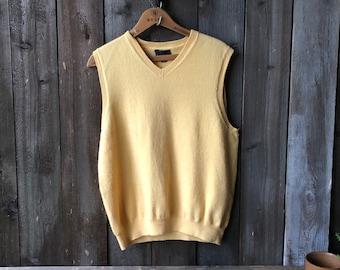 Vintage Wool Sweater Vest Gold
