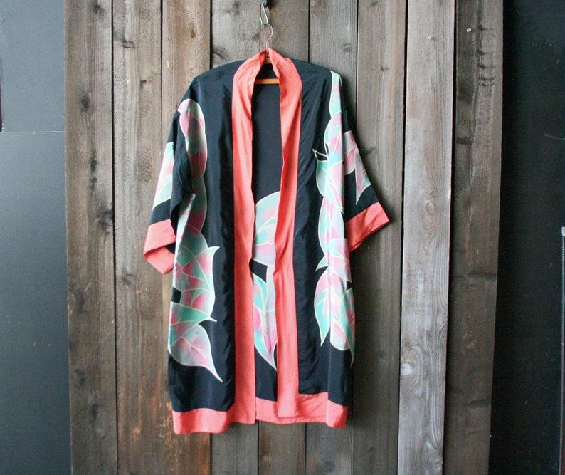 Vintage Hand Dyed Silk Robe Orange Black 1970s to 80s