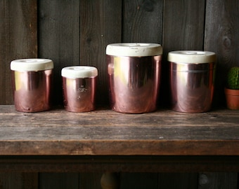 Vintage Set of 4 Canisters Aluminum West End 50s Flour Sugar Coffee Tea Pink and White