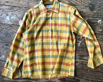 Vintage Plaid Shirt Gold Orange Blue Medium
