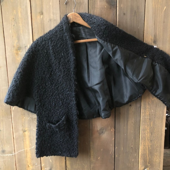 Antique 30s Cape Black Curly Wool