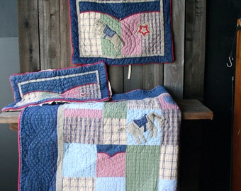 Quilted Vintage Full To Queen Bed Spread Western Theme 1950s Kitschy Horse Boot Denim Two Pillow Cases