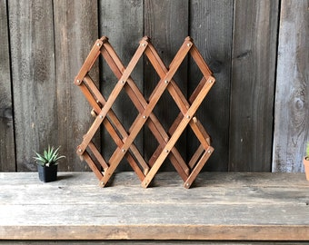 Vintage Wood Wine Rack From The 70s to 80s Collapsible Holds 8 Bottles