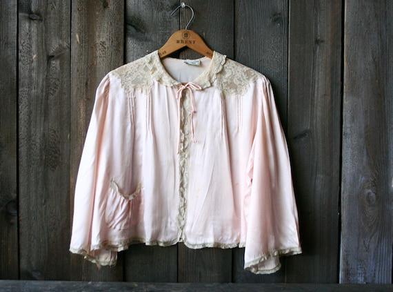 Silk Pink Pajama Top Vintage 1930s Beige Lace Butt