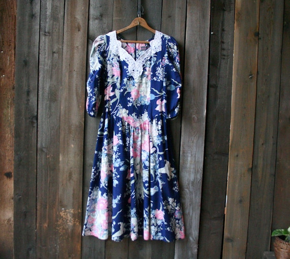 1980s Floral Dress Tina Barrie