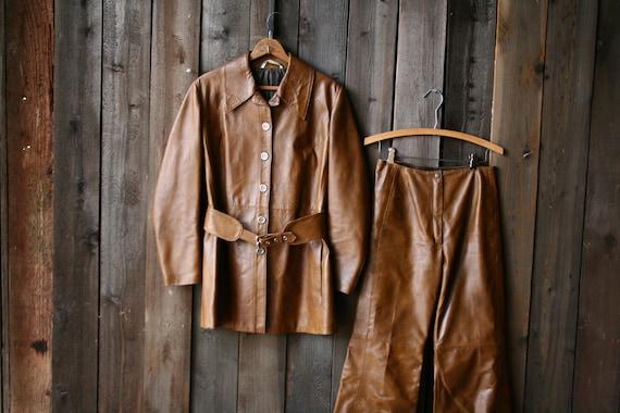 2 Piece Leather Suit Bell Bottoms Womens Vintage M