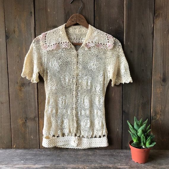 Vintage Blouse Tatted And Crochet 1930s
