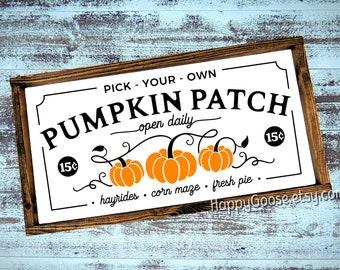 Wood Sign - Wall Sign - 24x12 - Pumpkins Patch - Fall - Fall Decor