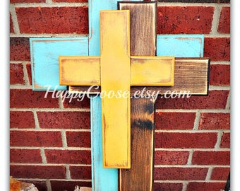 Wall Wood Cross - OFFSET - Medium - Antiqued Turquoise, Stain, and Yellow