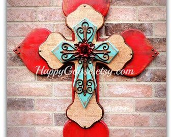 Wall Wood Cross - XL - Antiqued Red & Turquoise with Religious wording print, iron cross, and red iron rose