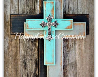 Wall Wood Cross - OFFSET - Small - Rustic Antiqued Black, Gray, and Turquoise, with OPTIONAL small silver top cross