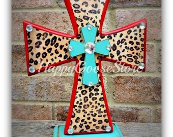 Wood Cross - Standing - Rustic Red & Turquoise with Leopard Print - can also be changed to wall-hanging