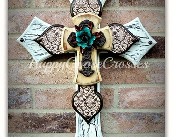 Wall Wood Cross - Small - White and Brown Crackle, Brown Damask, Antiqued Beige, with Iron Cross and Rose