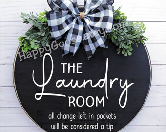 Wood Sign - Door sign - Laundry Room - wood round sign