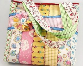 Huge Sale ... Jelly Roll Tote Bag Sewing Pattern with Fabric Flower Brooch PDF Tutorial