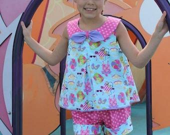 Huge Sale ... Girls A-Line Dress, Top, Shorts & Capri Pants PDF Sewing Pattern ... Odette