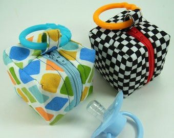 Huge Sale ... Pacifier Pouch Pattern ... Mini Zippered Cube PDF Sewing Tutorial