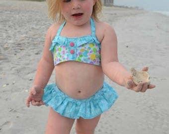 Huge Sale ... Girls Bikini Bathing Suit PDF Sewing Pattern ... 2 pc Retro Swimsuit Pattern