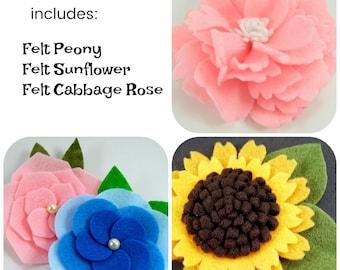 Huge Sale ... Felt Flower Tutorial Bundle ... includes 3 flower tutorials