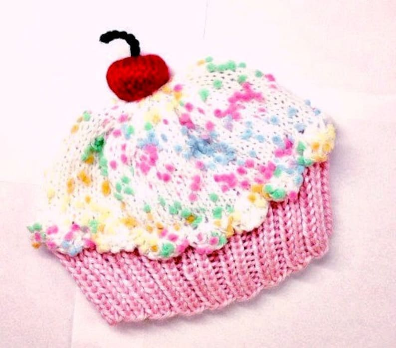 c47789b29e8 Cupcake Hat with Cherry on Top Cake Cotton Pink Cake