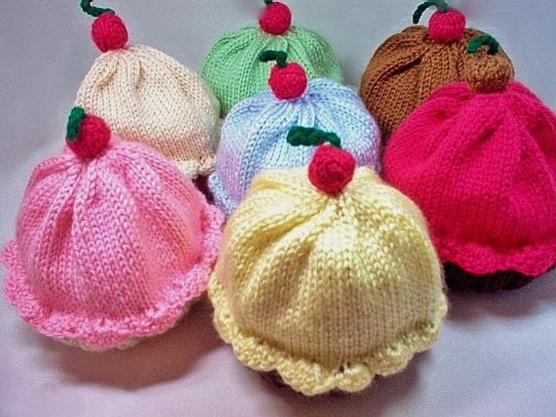 00aa509b360 Knitting Pattern Cupcake Hat PDF INSTANT DOWNLOAD Cherry on
