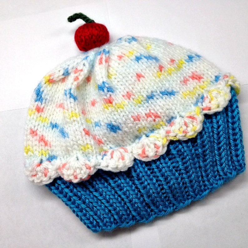 Cherry on Top Blue Raspberry Cake with White Sprinkle Frosting Cupcake Hat  preemie newborn baby toddler