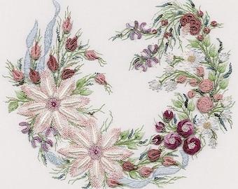 Utopia Wreath Brazilian embroidery kit #1038 - EdMar threads/choose fabric color