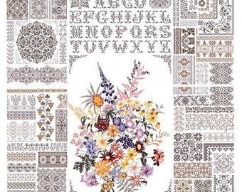 Jan Houtman Designs - Flower Bouquet in Green - Pattern