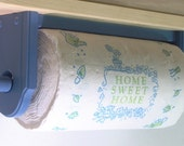 Paper towel holder wall under cabinet wood Country blue