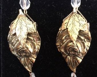 Vintage Brass Dress Clip Earrings