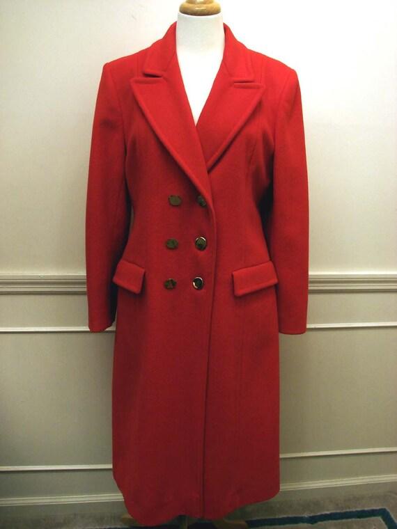 Vintage 60s 70s EVAN PICONE Red Wool Military Coat