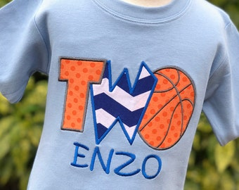 Personalized Basketball Birthday - Second Birthday - First Birthday - Fourth Birthday Shirt - One - Two - Four - Basketball Party