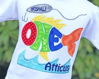 Fishing Party Shirt - First Birthday Shirt - Boys Fishing Shirt - Ofishally One - Fishing Lure Shirt - Personalized Boys Birthday Shirt