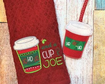 Coffee Gift Set - Coffee Cup Ornament - Gift Card Holder - Coffee Towel - Ho Ho Ho and Cup of Joe - Christmas Ornament - Christmas Gift