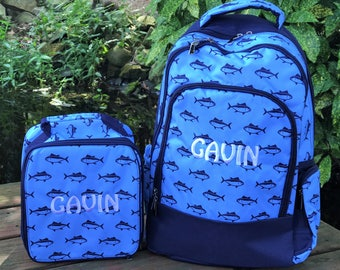 Boys Personalized Backpack and Lunchbag Set - Fish Print