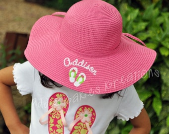 Personalized Floppy Hat - Monogrammed Floppy Hat - Beach Hat - Flip Flops  Hat - Adult Size Hat - Adult Beach Hat - Adult Sun Hat -Pool Hat e301e339a