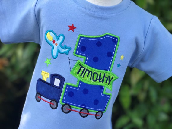 All Aboard First Birthday Shirt Personalized