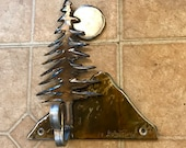 Handmade Robe hook rustic coat rack log home with tree mountain and moon made of steel iron metal towel holder colored with the torch
