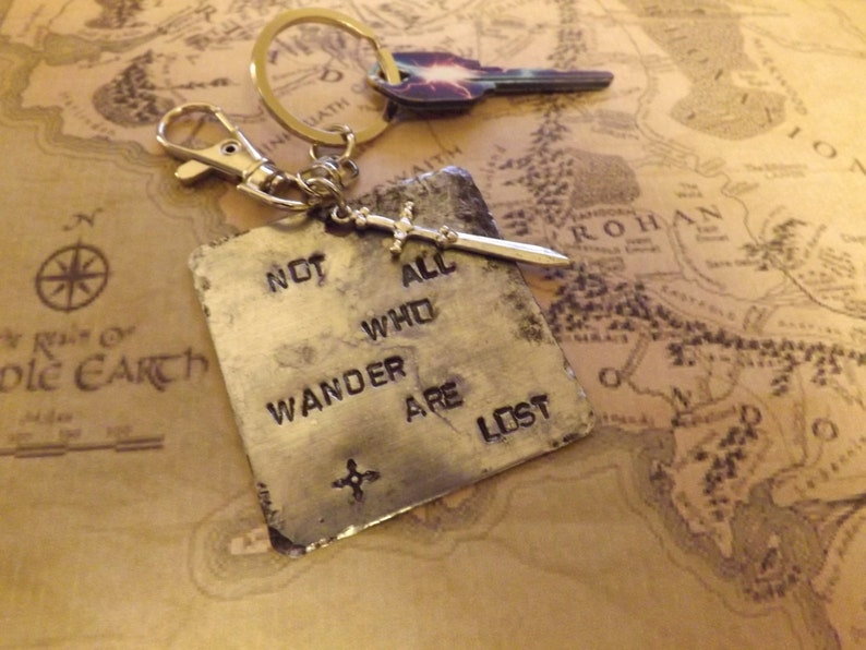 Lord of the Rings J.R.R.Tolkien Inspired Hand Stamped Aluminum Keychain with Steel Clip Clasp